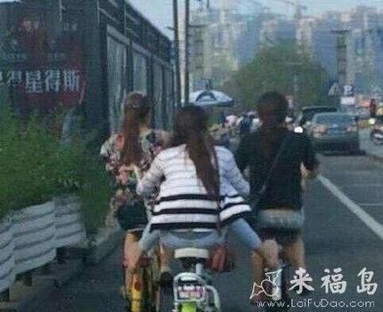 女汉子是这样骑电动车的